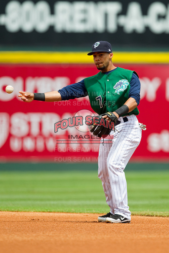 Charlotte Knights second baseman Leury Garcia (7) makes a throw to first base against the Durham Bulls at Knights Stadium on August 18, 2013 in Fort Mill, South Carolina.  The Bulls defeated the Knights 8-5 in Game One of a double-header.  (Brian Westerholt/Four Seam Images)