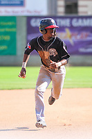 Lansing Lugnuts second baseman Samad Taylor (1) races to third base during a Midwest League game against the Clinton LumberKings on July 15, 2018 at Ashford University Field in Clinton, Iowa. Clinton defeated Lansing 6-2. (Brad Krause/Four Seam Images)