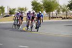The breakaway featuring Iñigo Elosegui (ESP) Movistar Team, Tony Gallopin (FRA) AG2R Citroën Team, Luis León Sánchez (ESP) and Alexey Lutsenko (KAZ) Astana-Premier Tech, Matthieu Ladagnous and Attila Valter (FRA) Groupama-FDJ pass Al Quadra Cycle Track Stage 6 of the 2021 UAE Tour running 165km from Deira Island to Palm Jumeirah, Dubai, UAE. 26th February 2021.  <br /> Picture: Eoin Clarke   Cyclefile<br /> <br /> All photos usage must carry mandatory copyright credit (© Cyclefile   Eoin Clarke)