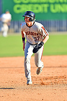 Aberdeen IronBirds Kyle Stowers (37) runs to third base during a game against the Asheville Tourists on June 15, 2021 at McCormick Field in Asheville, NC. (Tony Farlow/Four Seam Images)