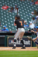 Andrew Fregia (7) of the Sam Houston State Bearkats at bat against the Kentucky Wildcats during game four of the 2018 Shriners Hospitals for Children College Classic at Minute Maid Park on March 3, 2018 in Houston, Texas. The Wildcats defeated the Bearkats 7-2.  (Brian Westerholt/Four Seam Images)