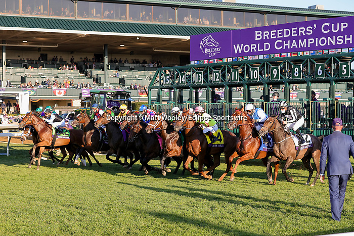 November 6, 2020: Horses race during the Juvenile Fillies Turf on Breeders' Cup Championship Friday at Keeneland on November 6, 2020: in Lexington, Kentucky. Matt Wooley/Eclipse Sportswire/Breeders Cup/CSM