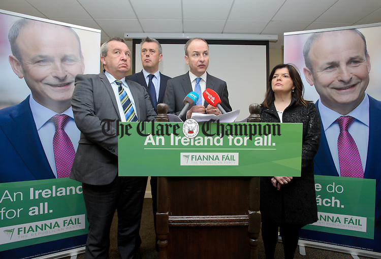 Micheal Martin, Fianna Fail Leader speaking flanked by Michael Malty Mc Donagh , Colm Keaveney, Spokesperson on Mental Health and Special Needs  and Clare Colleran Molloy  at the launch of a new Fianna Fail policy document supporting disability inclusion, which includes a commitment to appoint a Minister to Cabinet with responsibility for disability issues. Photograph by John Kelly.