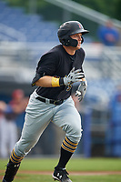 West Virginia Black Bears left fielder Austin Meadows (52) runs to first base during a game against the Batavia Muckdogs on August 7, 2017 at Dwyer Stadium in Batavia, New York.  West Virginia defeated Batavia 6-3.  (Mike Janes/Four Seam Images)