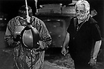 A boxer and his trainer at the double end bag at Gleason's Gym, Brooklyn, New York.<br />Photograph by Thierry Gourjon-Bieltvedt. 1995-2005