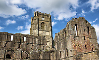 Fountains Abbey is one of the largest and best preserved ruined Cistercian monasteries in England. <br /> It is located south-west of Ripon in North Yorkshire. Founded in 1132, the abbey operated for 407 years becoming one of the wealthiest monasteries in England until its dissolution in 1539 under the order of Henry VIII.The abbey is a Grade I listed building now owned by the National Trust and part of the designated Studley Royal Park including the Ruins of Fountains Abbey UNESCO World Heritage Site. Yorkshire on August 7th 2020<br /> <br /> Photo by Keith Mayhew