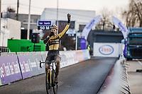 Wout van Aert (BEL/Jumbo-Visma) winning his 4th Belgian National Cyclocross Championships Title<br /> <br /> Elite Men's Race<br /> Belgian National CX Championships - Meulebeke 2021<br /> <br /> ©kramon