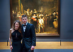 Olympic and World champions Speed skating Ireen Wüst and Sven Kramer pose in front of the Nachtwacht, by Rembrandt at the Rijksmuseum in Amsterdam, the Netherlands March 8, 2018  © Michael Kooren