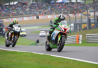 Leon Haslam of JG Speedfit Kawasaki during warm up for race two of the MCE British Superbikes in Association with Pirelli round 12 2017 - BRANDS HATCH (GP) at Brands Hatch, Longfield, England on 15 October 2017. Photo by Alan  Stanford / PRiME Media Images.