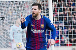 Lionel Messi of FC Barcelona celebrating his score during the La Liga 2017-18 match between FC Barcelona and RC Celta de Vigo at Camp Nou Stadium on 02 December 2017 in Barcelona, Spain. Photo by Vicens Gimenez / Power Sport Images