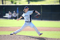 Ryan Jensen (37) of the Fresno State Bulldogs pitches against the Pepperdine Waves at Eddy D. Field Stadium on March 7, 2017 in Los Angeles, California. Pepperdine defeated Fresno State, 8-7. (Larry Goren/Four Seam Images)