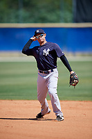 New York Yankees Jesus Bastidas (18) during practice before a Minor League Spring Training game against the Toronto Blue Jays on March 18, 2018 at Englebert Complex in Dunedin, Florida.  (Mike Janes/Four Seam Images)