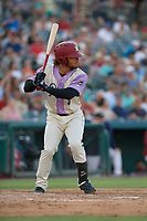 Frisco RoughRiders LeDarius Clark (3) bats during a Texas League game against the Amarillo Sod Poodles on July 13, 2019 at Dr Pepper Ballpark in Frisco, Texas.  (Mike Augustin/Four Seam Images)