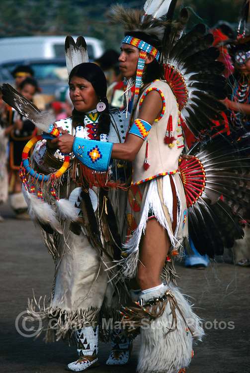 Native American Indian Fancy Dancers in Traditional Regalia at a Pow Wow on the Bella Bella Indian Reserve, in the Cariboo Chilcotin Region, British Columbia, Canada