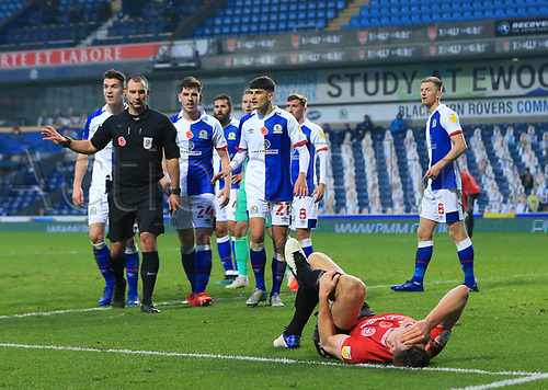 7th November 2020; Ewood Park, Blackburn, Lancashire, England; English Football League Championship Football, Blackburn Rovers versus Queens Park Rangers;  Blackburn Rovers players protest  to referee Tim Robinson after QPR are awarded a 61st minute penalty