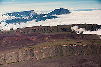 France, île de la Réunion, Parc national de La Réunion, classé Patrimoine Mondial de l'UNESCO, volcan du Piton de la Fournaise, l'Enclos Fouqué et  au pied du Pas de Bellecombe, en fond   Le Piton des Neiges (3070m) (vue aérienne) // France, Reunion island (French overseas department), Parc National de La Reunion (Reunion National Park), listed as World Heritage by UNESCO, Piton de la Fournaise volcano, at the foot of the Pas de Bellecombe (aerial view), in the background the Piton des Neiges (Snow Peak)