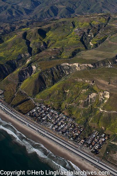 aerial photograph of La Conchita, Ventura County, California
