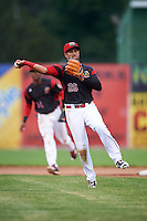 Batavia Muckdogs second baseman Rony Cabrera (26) throws to first base during a game against the West Virginia Black Bears on June 28, 2016 at Dwyer Stadium in Batavia, New York.  Batavia defeated West Virginia 3-1.  (Mike Janes/Four Seam Images)