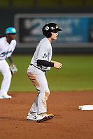 Mesa Solar Sox Nick Allen (3), of the Oakland Athletics organization, leads off second base during an Arizona Fall League game against the Salt River Rafters on September 19, 2019 at Salt River Fields at Talking Stick in Scottsdale, Arizona. Salt River defeated Mesa 4-1. (Zachary Lucy/Four Seam Images)