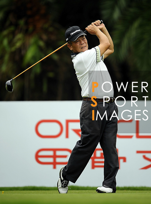 TAIPEI, TAIWAN - NOVEMBER 18:  Lin Ching Ho of Taiwan tees off on the 16th hole during day one of the Fubon Senior Open at Miramar Golf & Country Club on November 18, 2011 in Taipei, Taiwan.  Photo by Victor Fraile / The Power of Sport Images
