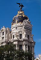 Spanien, Metropolis Jugendstil-Gebaeude Gran Via/Calle Alcacala in Madrid