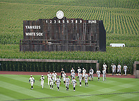 DYERSVILLE, IOWA - AUGUST 12: The teams come onto the field at the MLB Field of Dreams game between the New York Yankees and Chicago White Sox on August 12, 2021 in Dyersville, Iowa. (Photo by Frank Micelotta/Fox Sports/PictureGroup)