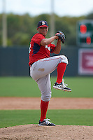 Boston Red Sox pitcher Luis Ysla (50) during an instructional league game against the Minnesota Twins on September 26, 2015 at CenturyLink Sports Complex in Fort Myers, Florida.  (Mike Janes/Four Seam Images)