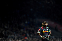 Marland Yarde of Harlequins looks on during the Aviva Premiership Rugby match between Harlequins and Gloucester Rugby at Twickenham Stadium on Tuesday 27th December 2016 (Photo by Rob Munro/Stewart Communications)