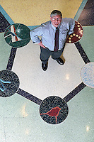 Dave Nelson, professor of biochemistry and director of the Center for Biology Education, stands in the center of a depiction of a molecule on the terrazo floor of the Biochemistry building atrium.<br /> <br /> Client: University of Wisconsin-Madison<br /> © UW-Madison University Communications 608-262-0067<br /> Photo by: Michael Forster Rothbart<br /> Date:  12/02     File#:   0212-206c-29.