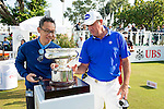 Scott Hend of Australia looks at the Trophy on display during the 58th UBS Hong Kong Golf Open as part of the European Tour on 11 December 2016, at the Hong Kong Golf Club, Fanling, Hong Kong, China. Photo by Marcio Rodrigo Machado / Power Sport Images