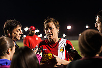 Western New York Flash forward Abby Wambach (20) is interviewed after the match. Sky Blue FC defeated the Western New York Flash 1-0 during a National Women's Soccer League (NWSL) match at Yurcak Field in Piscataway, NJ, on April 14, 2013.