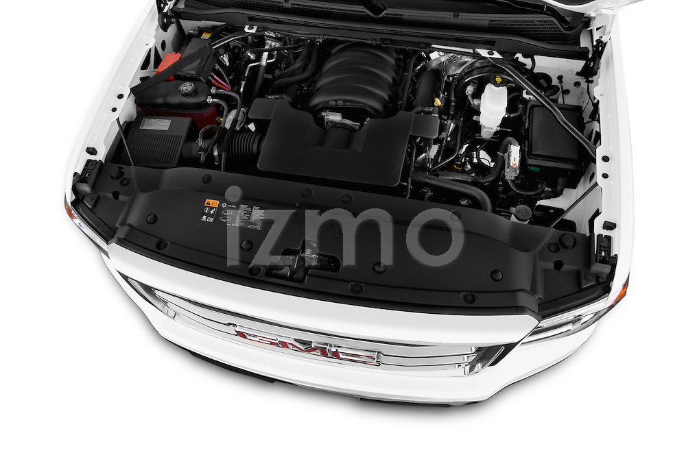 High angle engine detail of a 2014 GMC Sierra 1500 SLE Crew Cab