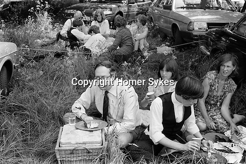 Eton College Parents Day, family picnic during interhouse cricket match. 4th  June  1978