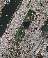 aerial photo map of midtown Manhattan including Central Park, Roosevelt Island, New York City, 2008.  For more recent aerial photo maps of any portion of New York City, please contact Aerial Archives.