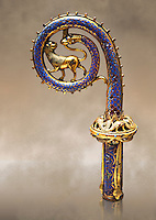 Medieval enamelled crosier with a lion and serpent, circa 12th century from Limoges, enamel on gold.  AD. Inv OA 7287, The Louvre Museum, Paris.