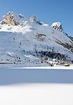 Italy, South Tyrol, Alto Adige - Trentino,  Lago Fedaia, reservoir at Fedaia pass road at the border to Veneto with foothills of Marmolada mountains | Italien, Suedtirol: der Fedaiasee, ein Stausee auf der Passhoehe des Fedaiapasses, an der Grenze zu Venetien mit Auslaeufern der Marmolada