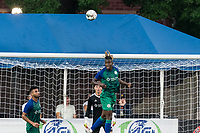 HARTFORD, CT - JULY 10: Tulu #15 of Hartford Athletic heads the ball during a game between New York Red Bulls II and Hartford Athletics at Dillon Stadium on July 10, 2021 in Hartford, Connecticut.
