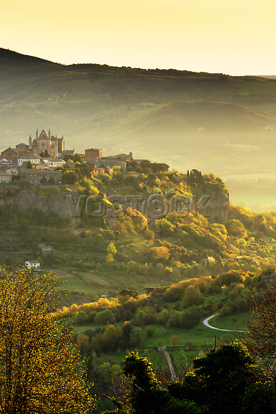 Italy, Umbria, Terni district, Orvieto, Cathedral and the surrounding area at sunrise