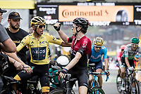 Defending Tour champ Geraint Thomas (GBR/Ineos) congratulates teammate Egan Bernal (COL/Ineos) for his GC win after the finish line<br /> <br /> shortened stage 20: Albertville to Val Thorens (59km in stead of the original 130km due to landslides/bad weather)<br /> 106th Tour de France 2019 (2.UWT)<br /> <br /> ©kramon