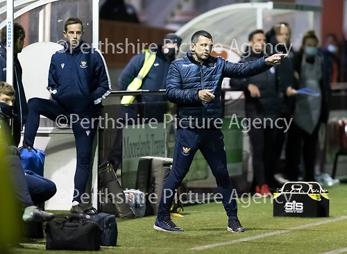 Kelty Hearts v St Johnstone…07.10.20   New Central Park  Betfred Cup<br />Saints manager Callum Davidson<br />Picture by Graeme Hart.<br />Copyright Perthshire Picture Agency<br />Tel: 01738 623350  Mobile: 07990 594431
