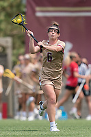 NEWTON, MA - MAY 14: Courtney Weeks #6 of Boston College passes the ball during NCAA Division I Women's Lacrosse Tournament first round game between Fairfield University and Boston College at Newton Campus Lacrosse Field on May 14, 2021 in Newton, Massachusetts.