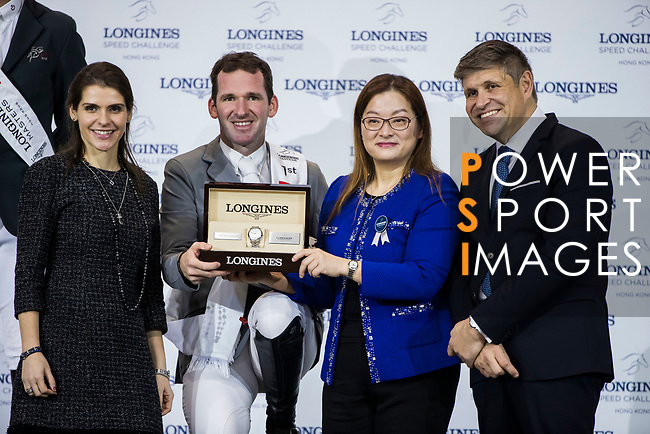 Philipp Weishaupt of Germany riding Chacon celebrates winning the Longines Speed Challenge during the Longines Masters of Hong Kong at AsiaWorld-Expo on 10 February 2018, in Hong Kong, Hong Kong. Photo by Ian Walton / Power Sport Images