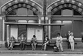 Bus queue, Pancras Road, Kings Cross, London 1990.