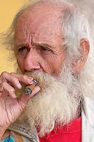 "Cuba, Cienfuegos.  Julian Espinosa, an untrained, ""primitive"" artist known as ""Wayacon"" (""little frog"")."