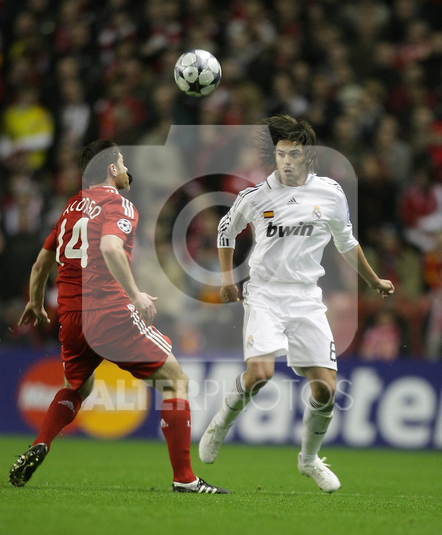 Fernando Gago heads the ball during the Champions League Round of 16, Second Leg match between Liverpool and Real Madrid at Anfield on March 10, 2009 in Liverpool, England