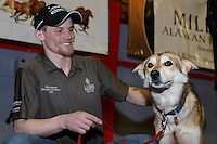 """Dallas Seavey's lead dog """"Reef"""" receives the City of Nome Lolly Medley Golden Harness award at the finishers banquet in Nome on Sunday  March 22, 2015 during Iditarod 2015.  <br /> <br /> (C) Jeff Schultz/SchultzPhoto.com - ALL RIGHTS RESERVED<br />  DUPLICATION  PROHIBITED  WITHOUT  PERMISSION"""