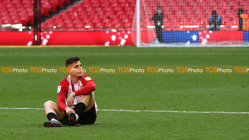 Sergio Canos of Brentford takes a moment to reflect on an emotional day at Wembley during Brentford vs Swansea City, Sky Bet EFL Championship Play-Off Final Football at Wembley Stadium on 29th May 2021