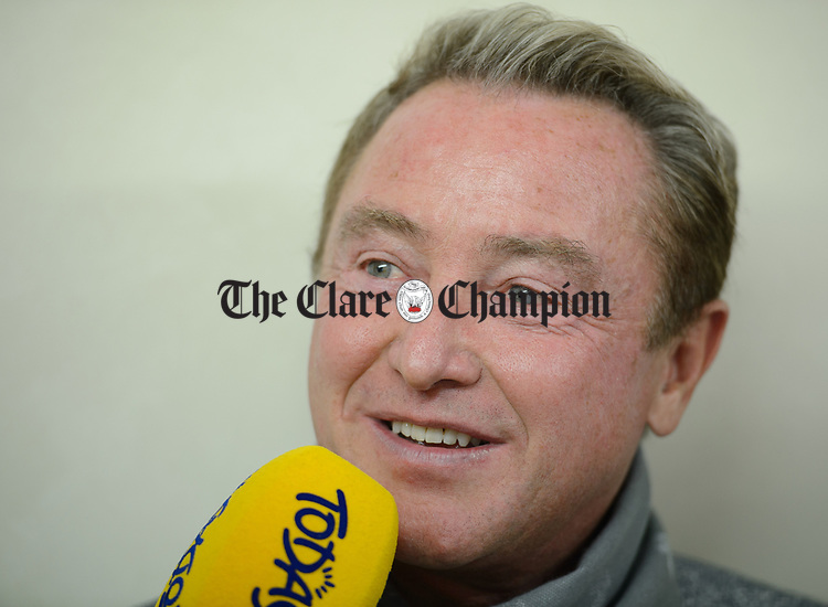 Michael Flatley being interviewed at the official opening of the All-Ireland Fleadh 2017 in Ennis. Photograph by John Kelly.