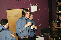 The band Arcade Fire backstage at the Knitting Factory in New York City on April 12, 2004.