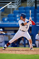 Dunedin Blue Jays first baseman Kacy Clemens (24) at bat during a game against the Lakeland Flying Tigers on May 27, 2018 at Dunedin Stadium in Dunedin, Florida.  Lakeland defeated Dunedin 2-1.  (Mike Janes/Four Seam Images)